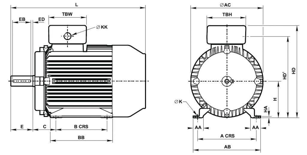 Silnik Tamel progresywny B3 wymiary