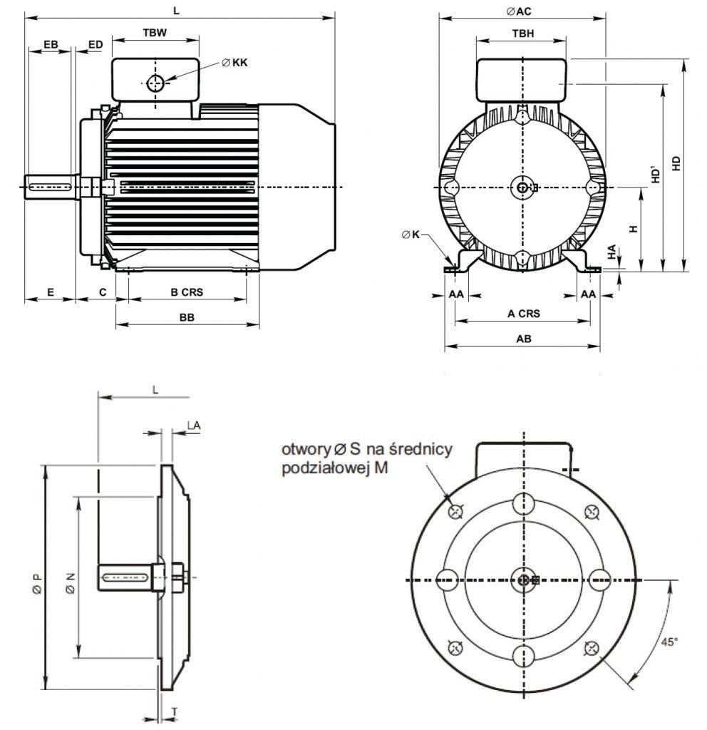 Silnik Tamel progresywny B5 wymiary