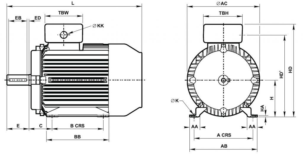 Silnik Tamel B3 wymiary